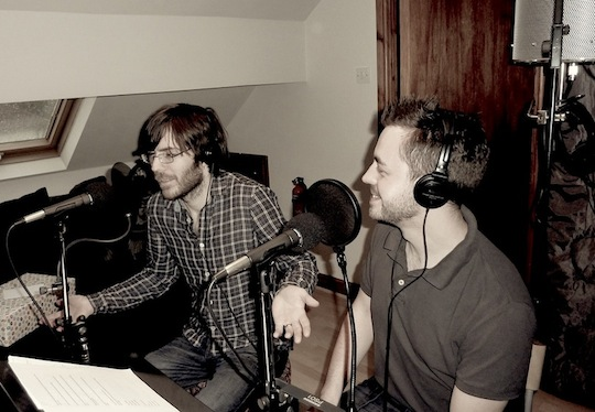 Simon and Brian recording the show